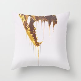 Painted Skull Gold Throw Pillow