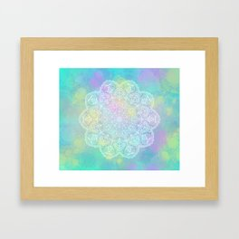 Yellow pastel mandala Framed Art Print
