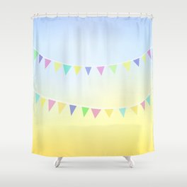 Pastel Bunting Shower Curtain