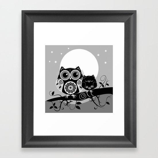 B&W Flower power Owl and her Sleepy Baby Framed Art Print