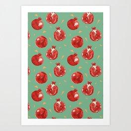 Pomegranate Fruit Vector Seamless Pattern Art Print