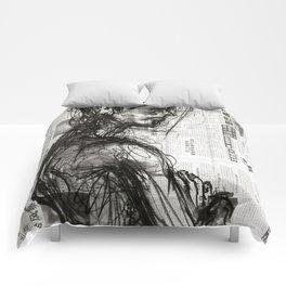 Waiting - Charcoal on Newspaper Figure Drawing Comforters