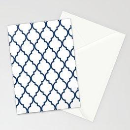 Classic Quatrefoil Lattice Pattern 826 Navy Blue Stationery Cards