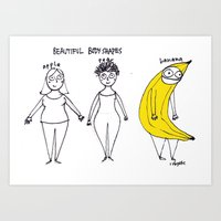 rubyetc Art Prints featuring beautiful body shapes by rubyetc