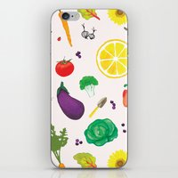 vegetables iPhone & iPod Skins featuring Delicious Vegetables by Viola Brun Designs