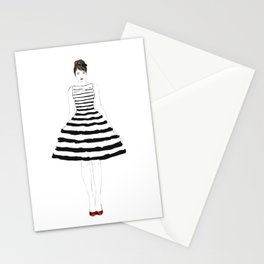 Fashion illustration stripes dress in black and white Stationery Cards