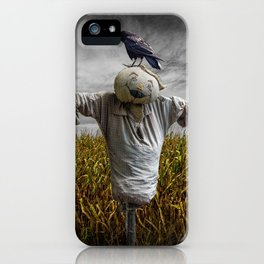 Scarecrow with Black Crows over a Cornfield iPhone Case