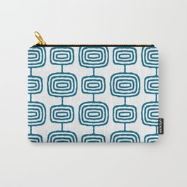 Mid Century Modern Atomic Rings Pattern Peacock Blue 3 Carry-All Pouch