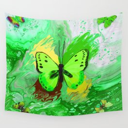 Neon Green Butterfly Wall Tapestry