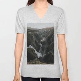 Voringsfossen Waterfall - Landscape and Nature Photography Unisex V-Neck