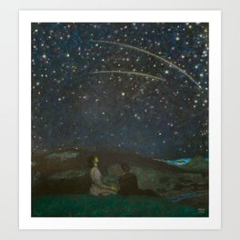 Shooting Stars, Summer Night by the Sea, Watch Hill, Rhode Island landscape by Franz Von Stuck Art Print