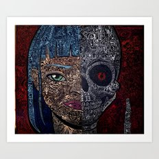 no empty spaces girl and skull Art Print