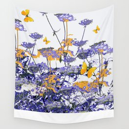 Purple-Gold  Lace Flowers Yellow Butterflies Design Wall Tapestry