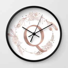 Letter Q Rose Gold Pink Initial Monogram Wall Clock