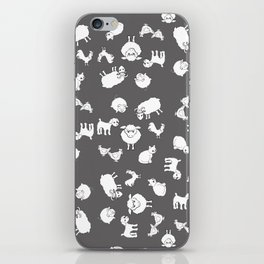 The Little Farm Animals, white on grey iPhone Skin