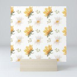 sunflower pattern with daisy Mini Art Print