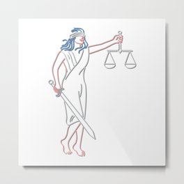Lady Justice Holding Sword and Balance Neon Sign Metal Print