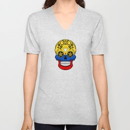 Sugar Skull with Roses and Flag of Colombia Unisex V-Neck