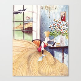 The Queen was in the parlor Eating bread and honey Canvas Print