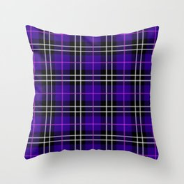 blue plaid pattern Throw Pillow