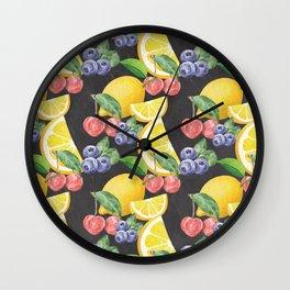 Fruits on Chalkboard Wall Clock