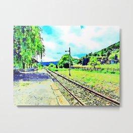 Fognano: railway station landscape with binary Metal Print