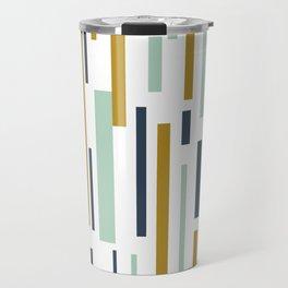 Interrupted Lines Mid-Century Modern Minimalist Pattern in Blue, Mint, and Golden Mustard Travel Mug