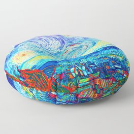 Psychedelic Starry Night Abstract Van Gogh Floor Pillow