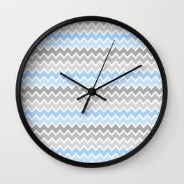 Grey Gray Blue Ombre Chevron Wall Clock
