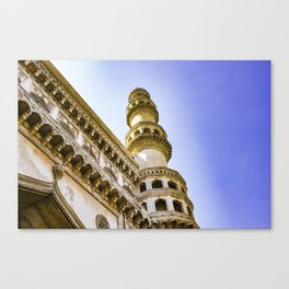 Looking up at One of the Minarets at the Charminar Mosque in Hyderabad, India Canvas Print