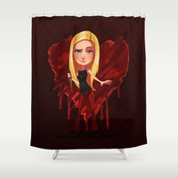 buffy Shower Curtains featuring Buffy the Heart Slayer by Isaiah K. Stephens