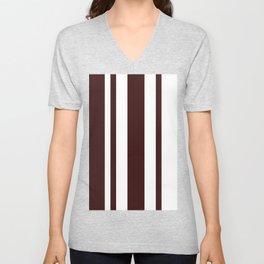 Mixed Vertical Stripes - White and Dark Sienna Brown Unisex V-Neck