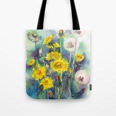 Watercolor dandelion flowers illustration Tote Bag
