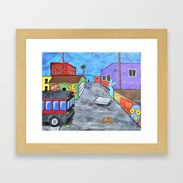 Los Angeles Alley by Mike Kraus - LA art street graffiti socal Framed Art Print