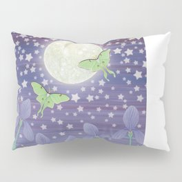 Moonlit stars, luna moths, snails, & irises Pillow Sham