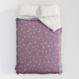 Starry Night Sky Constellations on Purple Background Comforters