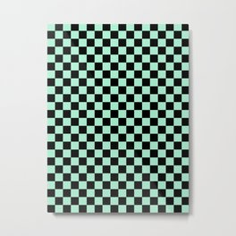 Black and Magic Mint Green Checkerboard Metal Print