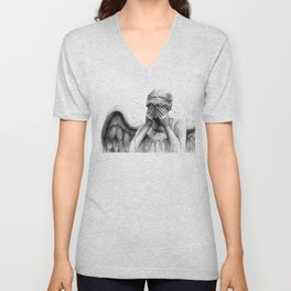 Weeping Angel Watercolor Painting Unisex V-Neck