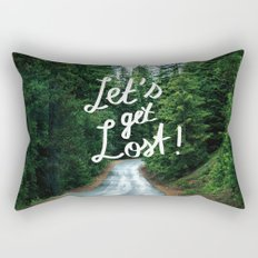 Let's get Lost! - Quote Typography Green Forest Rectangular Pillow