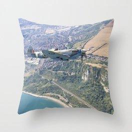 Spitfire Over Capel Coastline Throw Pillow