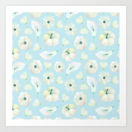 Modern hand painted blush blue white watercolor floral Art Print