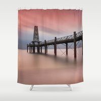 wooden Shower Curtains featuring  Wooden Pier by davehare