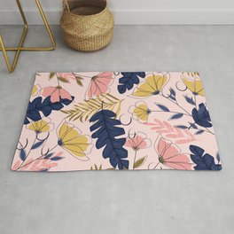 Pink and Blue Flowers Pattern Rug