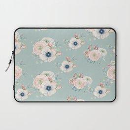 Dog Rose Pattern Mint Laptop Sleeve