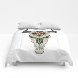 Cow skull with floral ornament Comforters