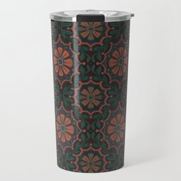 Folk Flower, Vintage Bohemian Floral Pattern Travel Mug