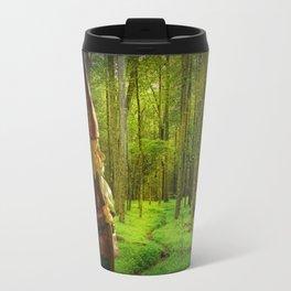 Gnome Traveler on a Forest Path Travel Mug