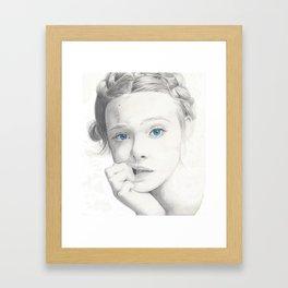 Elle Fanning Blue Eyes Framed Art Print