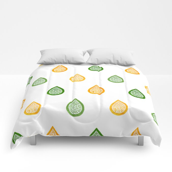 Yellow and green raindrops Comforters
