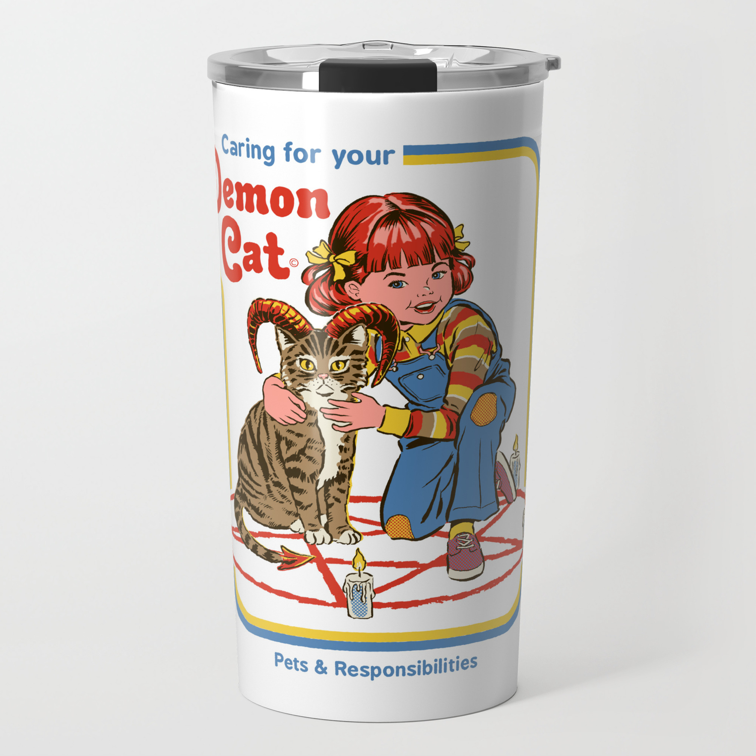 c9abf128 Caring for your Demon Cat Travel Mug by stevenrhodes | Society6